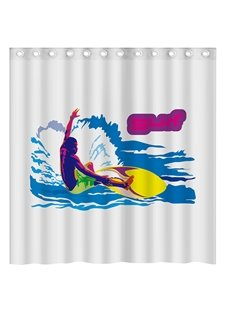 Creative Concise Surfing Man Print 3D Shower Curtain