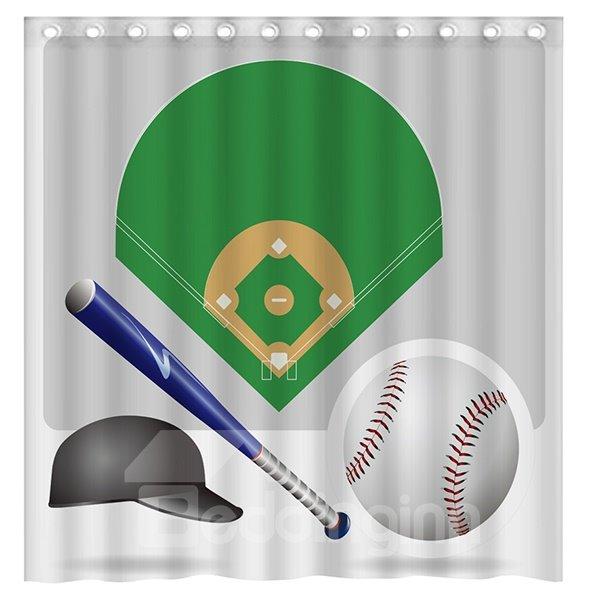 Popular Baseball and Baseball Hat 3D Shower Curtain