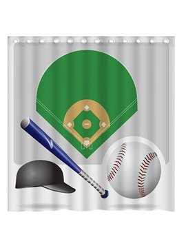 Popular Baseball and Baseball Hat 3D Shower Curtain
