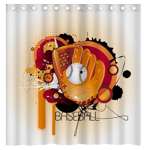 Creative Design Unique Doodle Baseball 3D Shower Curtain