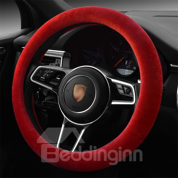 Concise Single Colored Super Soft Plush Steering Wheel Cover