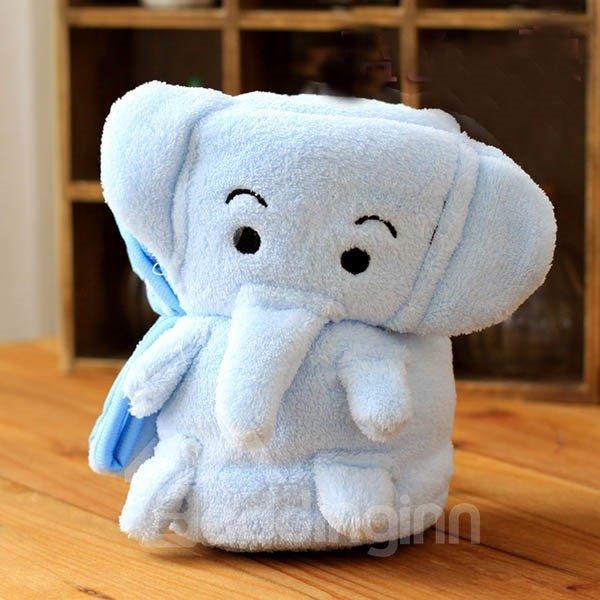 Warm Flannel Light Blue Elephant Baby Blanket Beddinginn Com