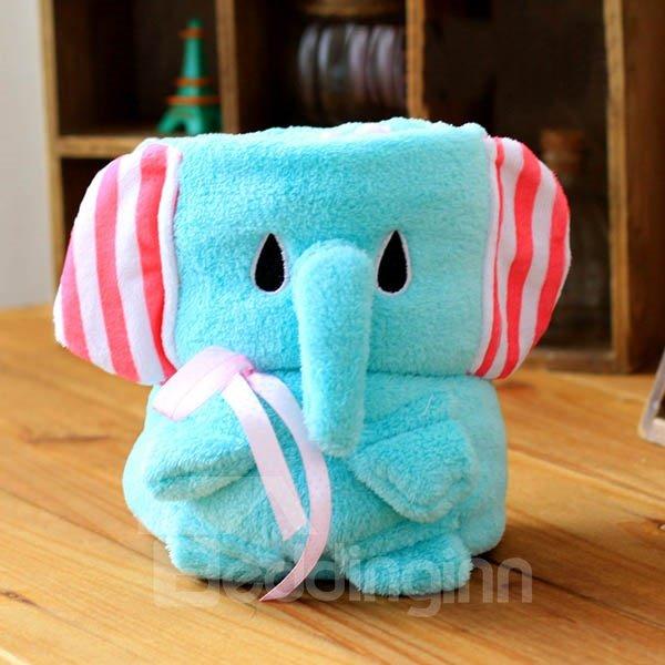 Lovely Elephant Shape Warm Flannel Baby Blanket