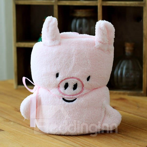 Warm Flannel Cute Pink Pig Baby Blanket