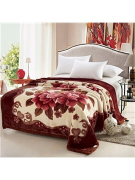 Thick Soft Red Flowers Print Raschel Blanket