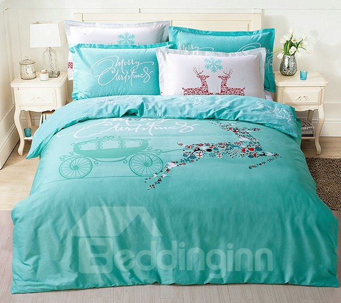 Merry Christmas Elegant Deer and Carriage Print Kids 4-Piece Duvet Cover Set