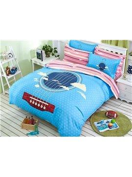 Blue Beautiful Ukulele Print Kids 4-Piece Duvet Cover Set