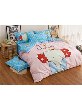 Pink Lovely Elephant Print 4-Piece Duvet Cover Set