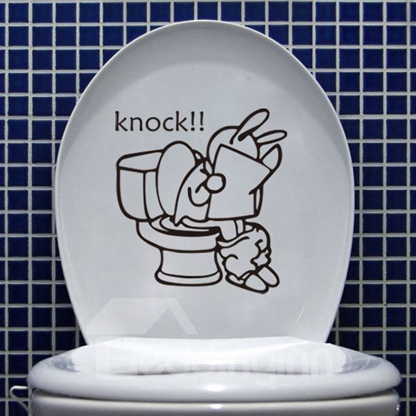 Creative Funny Knock Rabbit Reading Newspaper Bathroom Removable Wall Sticker