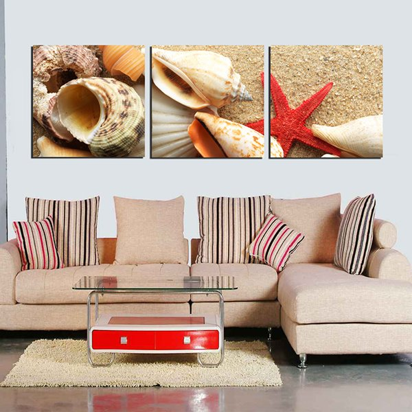 Wonderful Beach Theme Seashells and Starfish Pattern 3-Panel Wall Art Prints