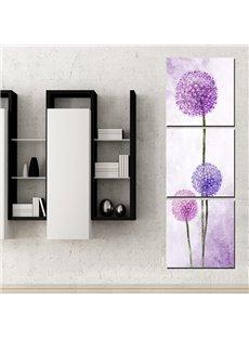 Simple Purple Dandelion 3-Panel Wall Art Prints