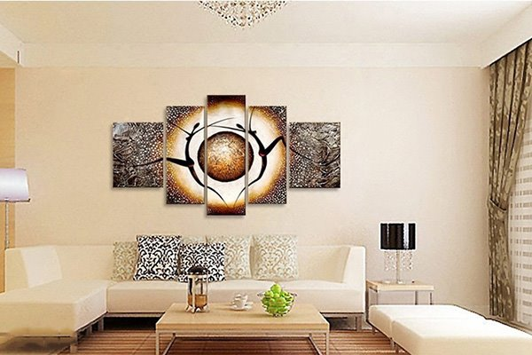 Modern Abstract Oil Painting Style People Dancing 5-Panel Wall Art Prints