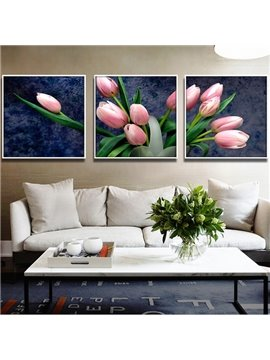 Gorgeous Pink Tulip with Green Leaves 3-Panel Wall Art Prints