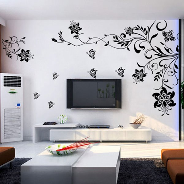 Classic Unique Black Flowers Extra Large TV Wall Bedroom
