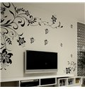 Classic Unique Black Flowers Extra Large TV Wall Bedroom Removable Wall Sticker