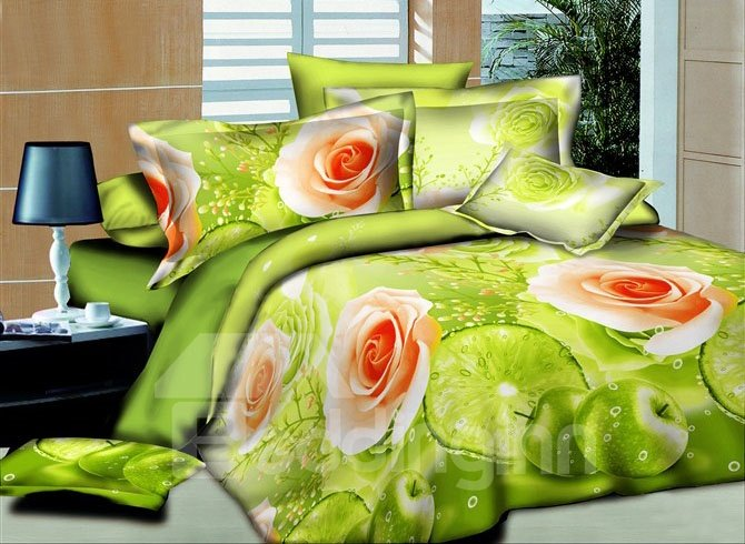 Roses Print Fresh Green 4-Piece Duvet Cover Sets