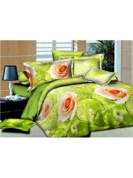 Roses Print Fresh Green 4-Piece Duvet Cover Sets