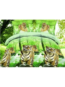 Tigers in Forest Print Green 4-Piece Duvet Cover Sets