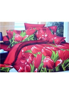 Gorgeous Red Tulips Print Skin-care 4-Piece Polyester Duvet Cover Sets