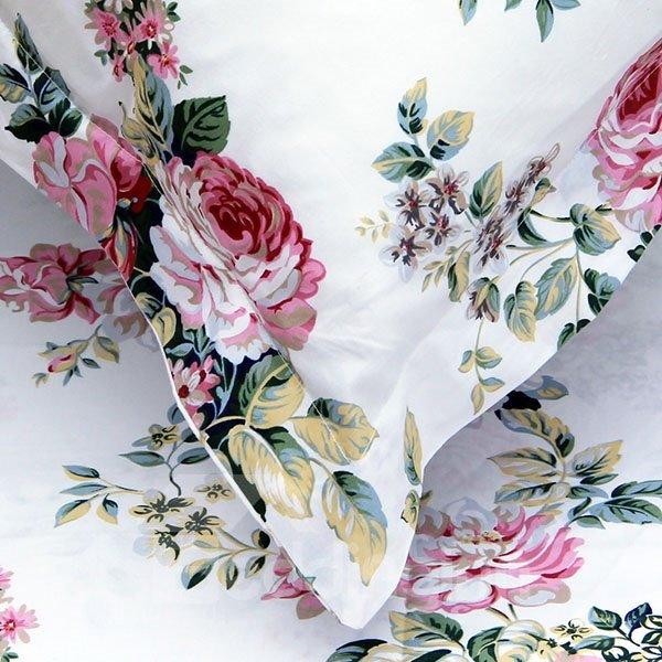 Pastoral Rosy Flowers Print Cotton 2-Piece Pillow Cases