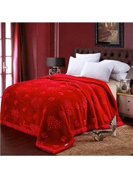 High-end Heart-shape Embroider Design Red Raschel Blanket