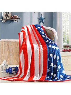 Stylish Stripe and Stars Print Flannel Blanket