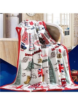 London Landmark Print Super Cozy Flannel Blanket