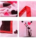 Lovely Cartoon Cats Print Soft Flannel Blanket