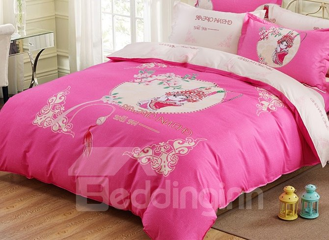 Lovely Opera Figure and Flowers Print 4-Piece Duvet Cover Set