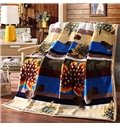 Graceful Leaves Print Warm Cozy Polyester Blanket