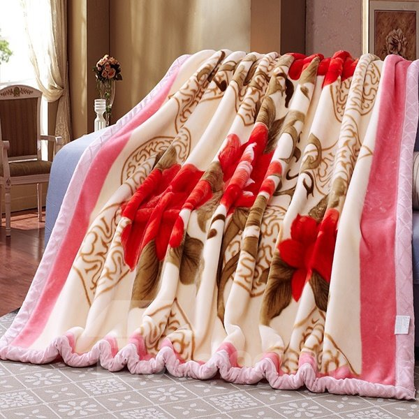 Red Flowers Print Thick Comfy Raschel Blanket