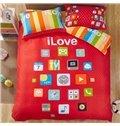 100% Cotton Trendy Mobile Apps Print 4-Piece Duvet Cover Set