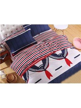 Stripes Pattern Lovely Collar Print Kids 4-Piece Duvet Cover Set