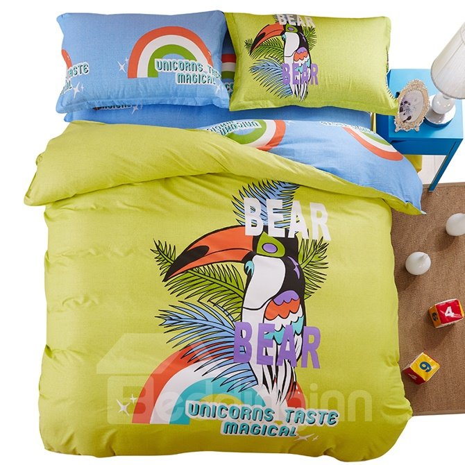 Bouncy Colorful Bird Print Kids 4-Piece Duvet Cover Set