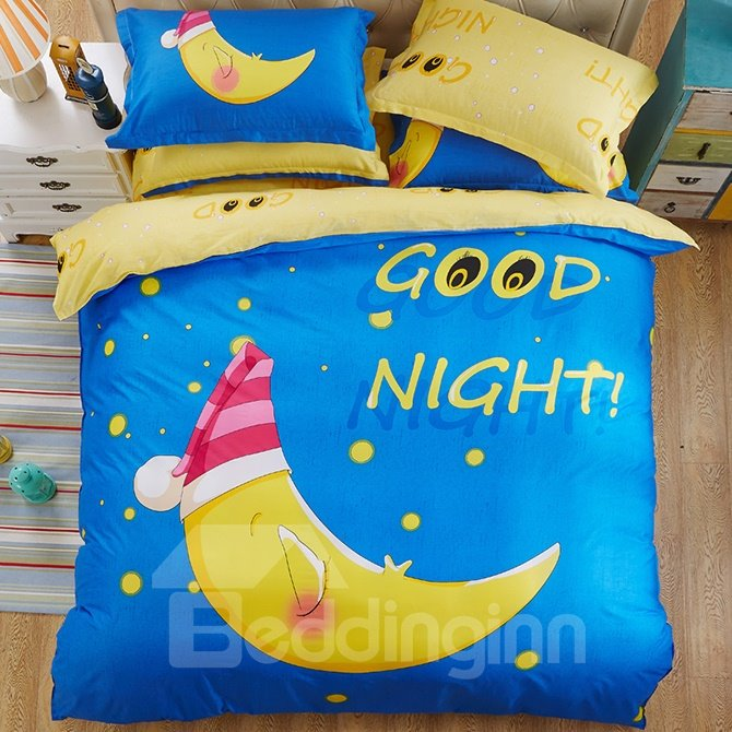 Good Night Big Moon Print Kids 4-Piece Duvet Cover Set