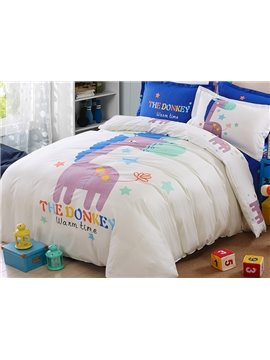 Adorable Donkey Print Kids Pure Cotton 4-Piece Duvet Cover Set
