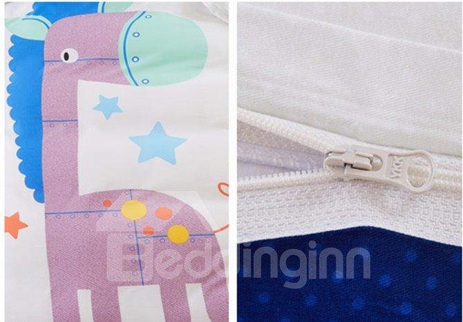 Adorable Donkey Print Kids Pure Cotton 4-Piece Duvet Cover Set