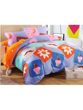 Adorable Mustache and Cupcake Pattern 4-Piece Duvet Cover Set