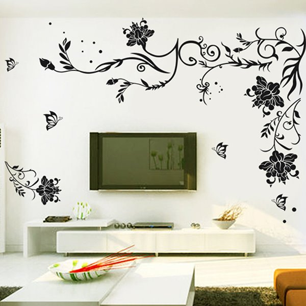 Wonderful Unique Black Flower and Vines Removable Wall Sticker
