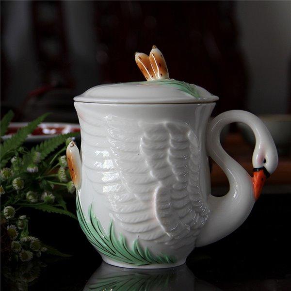 Gorgeous Swan Design With Lid Ceramic Coffee Mug