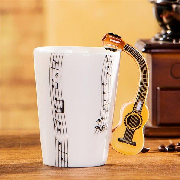 Creative Musical Theme Guitar Design Handle Ceramic Coffee Mug