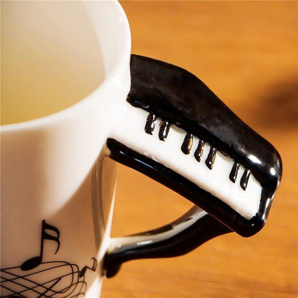 Creative Musical Theme Piano Design Handle Ceramic Coffee Mug
