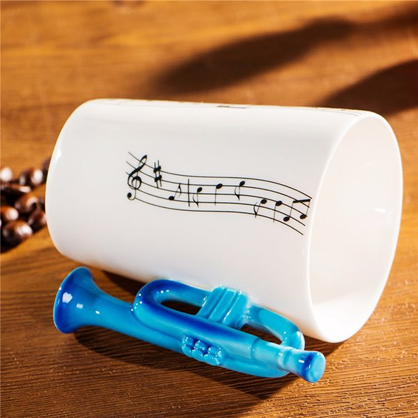 Creative Musical Theme Trumpet Design Handle Ceramic Coffee Mug