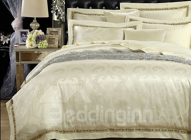 Graceful Noble Jacquard Print Cotton 4-Piece Duvet Cover Sets