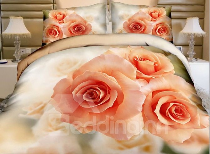 Three Aurantia Roses Print Cotton 4-Piece Duvet Cover Sets