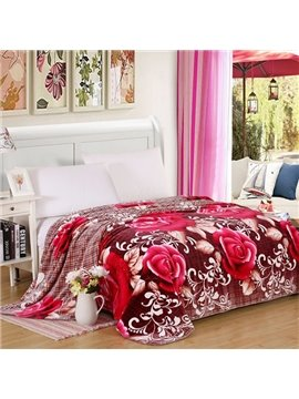 Red Roses Print and Plaid Design Polyester Blanket