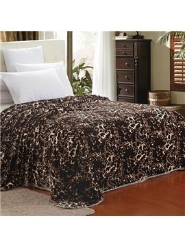 Faddish Leopard Design Thick Brown Polyester Blanket