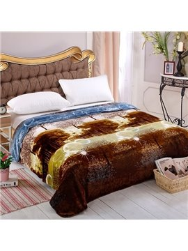 Trees Natural Scenery Print Well-made Warm Blanket