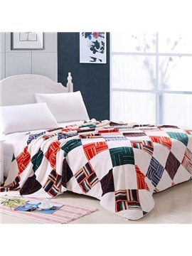 Classical Colorful Plaid Design Soft Polyester Blanket