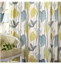 Blue Leaves Pastoral Style Grommet Top  Curtain